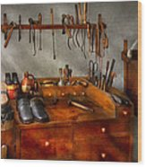Shoemaker - The Cobblers Shop Wood Print by Mike Savad