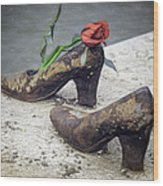 Shoes On The Danube Bank Wood Print