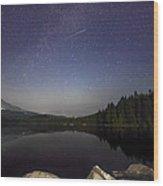 Shooting Star At Trillium Lake Wood Print