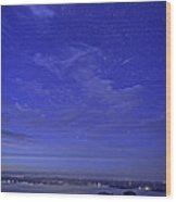 Shooting Star Over Bar Harbor Wood Print