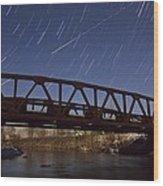 Shooting Star Over Bridge Wood Print