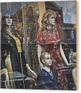 Shop Window Display Of Mannequins Wood Print