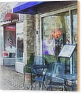 Shopfront - Music And Coffee Cafe Wood Print