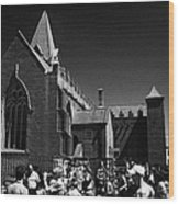 shoppers in market outside St Nicholas collegiate church Galway city county Galway Republic of Irela Wood Print