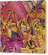 Shopping Baskets Wood Print
