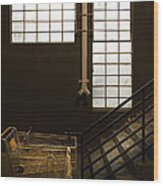 Shopping Cart Stairs At Window Wood Print