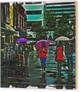 Shopping In The Rain - Knoxville Wood Print