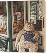 Shopping's A Bear Wood Print