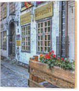 Shops And Flower Boxes Wood Print