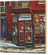 Shops And Streets Of St Henri- Montreal Paintings Depanneur Coca Cola Winter City Scenes Wood Print