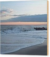 Shoreline  And Waves At Cape May Wood Print
