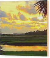 Shoreline Sunset 3 Wood Print