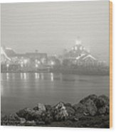 Shoreline Village In The Fog Wood Print