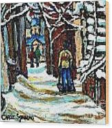 Shovelling Out After January Storm Verdun Streets Clad In Winter Whites Montreal Painting C Spandau Wood Print