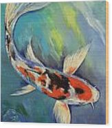 Showa Butterfly Koi Wood Print by Michael Creese