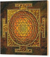 Shri Yantra Gold Lakshmi Wood Print by Lila Shravani