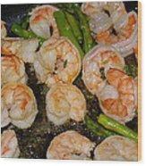 Shrimp And Asparagus Wood Print