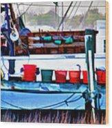 Shrimp Boat Buckets Wood Print