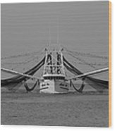 Shrimp Boat - Bw Wood Print