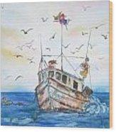 Shrimp Boat Sailing Wood Print