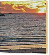 Shrimp Boats And Gulls Over Sea Of Cortez At Sunset From Playa Bonita Beach-mexico Wood Print