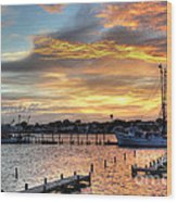 Shrimp Boats At Sunset Wood Print by Benanne Stiens