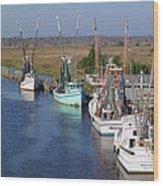 Shrimp Boats Of Darien Wood Print