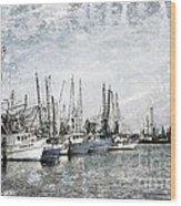 Shrimp Boats Sketch Photo Wood Print