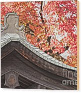 Shrine Roof And Autumn Leaves Arashiyama Kyoto Wood Print by Colin and Linda McKie