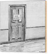 Shut Door In A Hallway With A Sign That Read Gone Wood Print