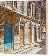 Shutters And Doors Along The Street In Bhaktapur-city Of Devotees-nepal  Wood Print