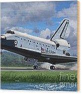 Shuttle Endeavour Touchdown Wood Print