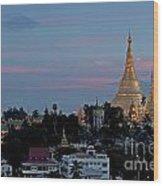 Shwedagon Pagoda In Yangon Myanmar Wood Print