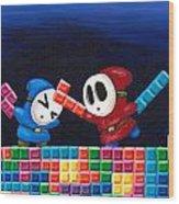 Shy Guys Playing Tetris Wood Print by Katie Clark