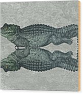 Siamese Twins Blue And Green Crocodiles On Sage Green Stone Wood Print