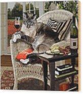 Funny Pet A Wine Bibbing Kitty  Wood Print