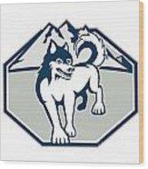 Siberian Husky Dog Mountain Retro Wood Print