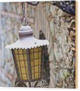 Sicilian Village Lamp Wood Print by David Smith