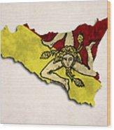 Sicily Map Art With Flag Design Wood Print