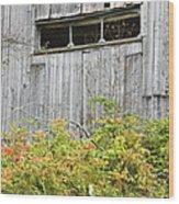 Side Of Barn In Fall Wood Print