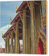 Side Of Royal Temple At Grand Palace Of Thailand In Bangkok Wood Print