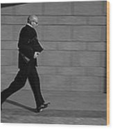 Side Profile Of A Businessman Running Wood Print