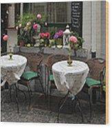 Sidewalk Cafe In Antwerp Wood Print