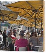 Sidewalk Cafe In Lisbon Wood Print