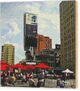 Sidewalk Cafe Lunch Break Red Umbrellas Yonge Dundas Square Toronto Cityscene C Spandau Canadian Art Wood Print