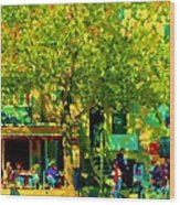 Sidewalk Cafe Rue St Denis Dappled Sunlight Shade Trees Joys Of Montreal City Scene  Carole Spandau Wood Print