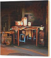 Sidewalk Cafe Wood Print by Sue  Darius