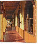 Sidewalk In Tlaquepaque District Of Guadalajara Wood Print by Elena Elisseeva