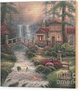 Sierra River Falls Wood Print