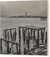 Siglufjordur Old Pier Black And White Wood Print